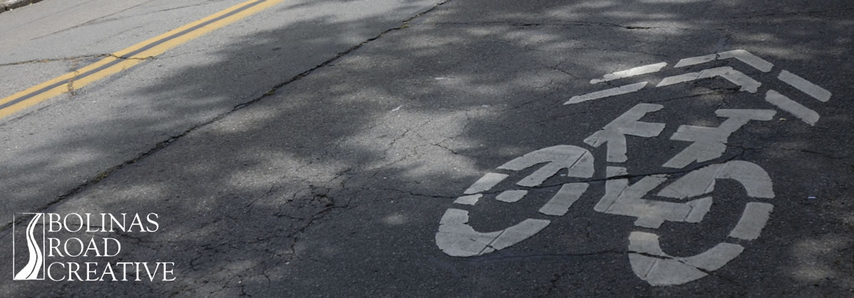 A logo for a bike path painted on the asphalt street. A double yellow line appears in the corner of the photo.
